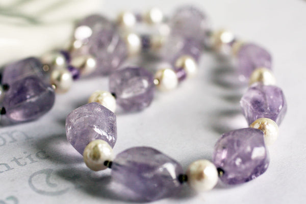Chunky Pastel Amethyst and Pearl Handmade Necklace -from Capital City Crafts