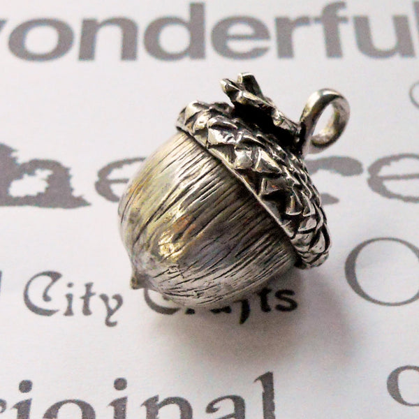 Large Sterling Silver Handmade Acorn Pendant Necklace -from Capital City Crafts