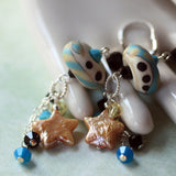 Colorful Festive Beaded Long Sterling Silver Earrings -from Capital City Crafts