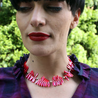 Firecracker Red Czech Glass Beaded Choker Necklace -from Capital City Crafts