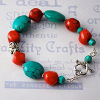 Turquoise and Coral Southwestern Colorful Beaded Bracelet -from Capital City Crafts