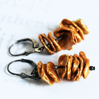 Rustic Golden Pearl Oxidized Silver Earrings -from Capital City Crafts