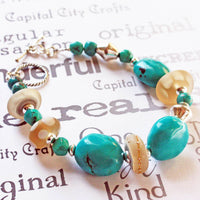 Turquoise and Lampwork Glass Beaded Silver Bracelet -from Capital City Crafts