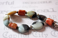 Colorful Amazonite and Coral Chunky Gemstone Bracelet -from Capital City Crafts