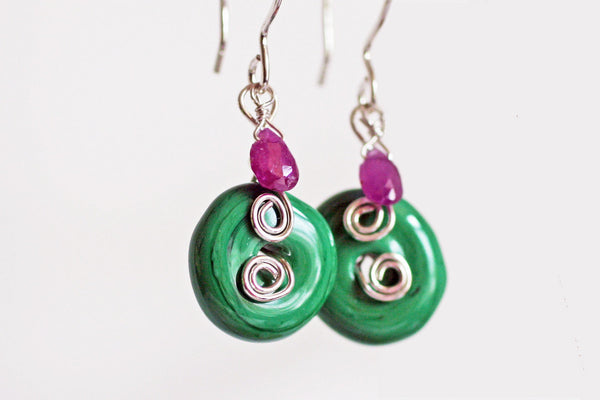 Green Lampwork Glass Swirl Sterling Silver Earrings -from Capital City Crafts