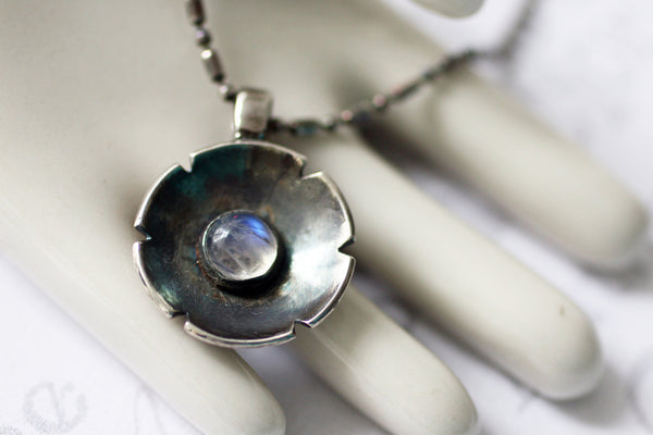 Moonstone Cabochon Flower Sterling Silver Necklace -from Capital City Crafts