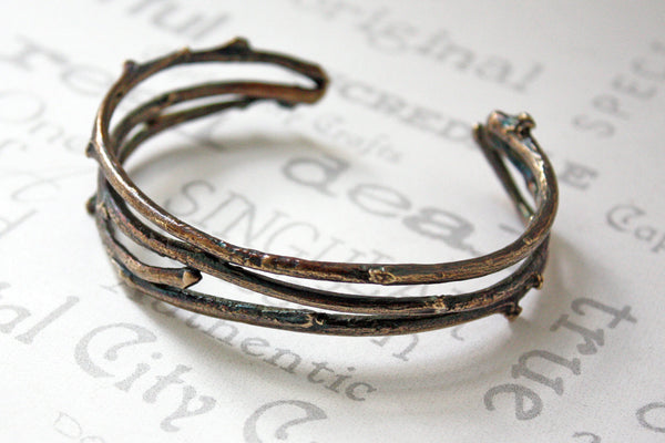 Unisex Brass Woodland Twig Cuff Bracelet -from Capital City Crafts