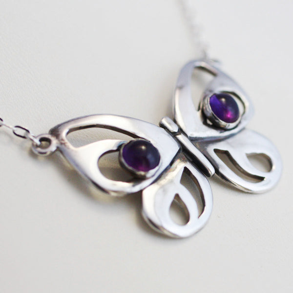 Sterling Silver Modern Butterfly Necklace with Amethyst Cabochons -from Capital City Crafts