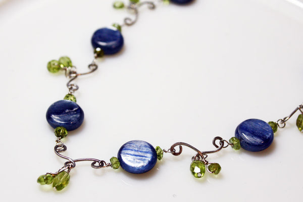Blue Kyanite and Peridot Sterling Silver Handmade Necklace -from Capital City Crafts