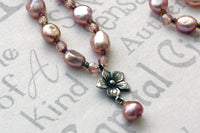 Pastel Pink Pearl and Sterling Flower Bridal Necklace -from Capital City Crafts