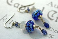 Blue Kyanite and Moonstone Sterling Silver Dangle Earrings -from Capital City Crafts