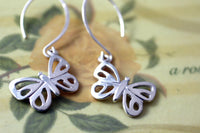 Modern Sterling Silver Butterfly Dangle Earrings -from Capital City Crafts