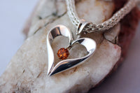 Sterling Silver Open Heart Necklace with Citrine Gemstone Accent -from Capital City Crafts