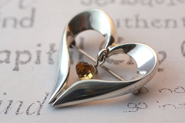 Open Heart Sterling Silver Brooch with Citrine Gemstone Accent -from Capital City Crafts