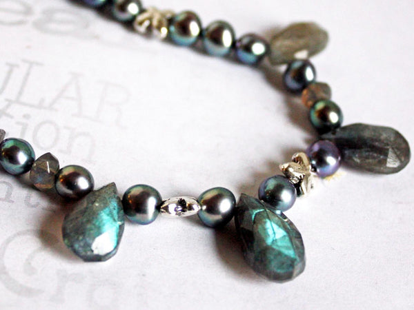 Labradorite and Freshwater Pearl Necklace -from Capital City Crafts