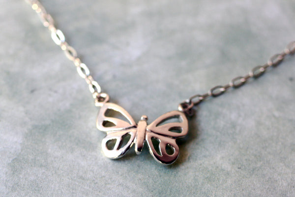 Small Modern Sterling Silver Butterfly Necklace -from Capital City Crafts