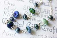 Blue Pearl and Lamp Work Glass Sterling Silver Necklace -from Capital City Crafts