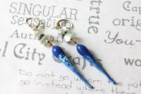 Blue Icicle Lamp Work Glass Long Sterling Silver Earrings -from Capital City Crafts