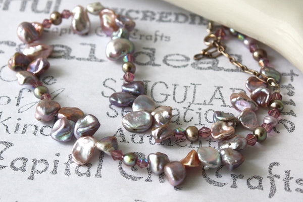 Silver Lavender Keishi Freshwater Pearl Necklace -from Capital City Crafts