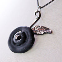 Dark Rose Oxidized Sterling Silver Necklace -from Capital City Crafts