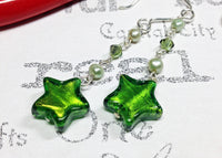 Green Murano Glass Star and Peridot Sterling Silver Drop Earrings -from Capital City Crafts