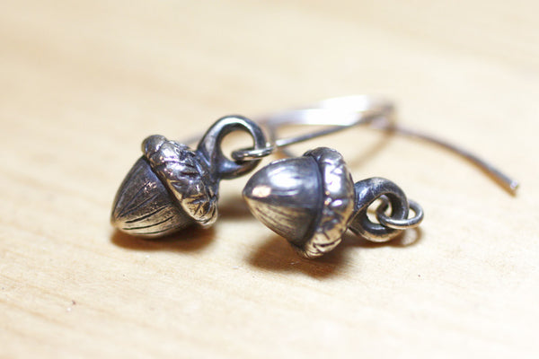 Sterling Silver Miniature Handmade Acorn Earrings -from Capital City Crafts