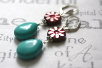 Red Glass Flower and Turquoise Silver Earrings -from Capital City Crafts