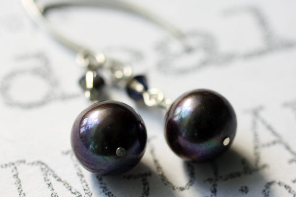 Modern Black Pearl Drop Classic Sterling Silver Earrings -from Capital City Crafts