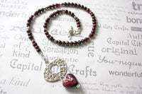 Garnet Lamp Work Heart and Pearl Beaded  Necklace -from Capital City Crafts