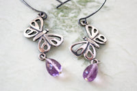 Amethyst Sterling Silver Butterfly Dangle Earrings -from Capital City Crafts