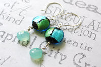 Murano Glass and Gemstone Chalcedony Silver Dangle Earrings -from Capital City Crafts