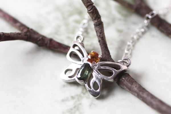 Tiny Butterfly Gemstone Sterling Silver Handmade Necklace -from Capital City Crafts