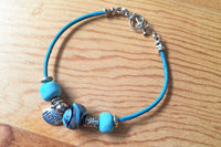 Turquoise Leather Inspirational Hope Silver Handmade Bracelet -from Capital City Crafts