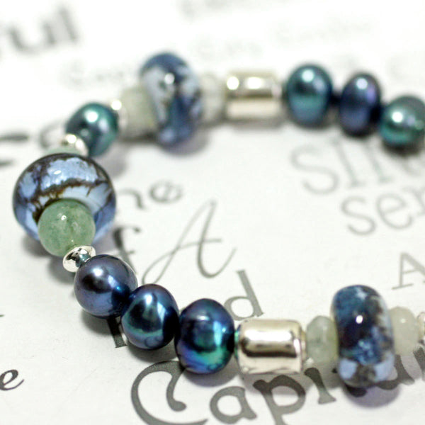 Gemstone Aquamarine Lamp Work Glass and Pearl Silver Beaded Bracelet -from Capital City Crafts