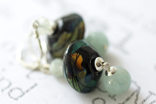 Aquamarine and Lampwork Glass Dangle Earrings -from Capital City Crafts