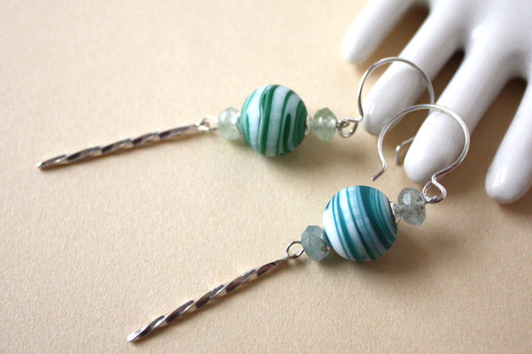 Mismatched Green Swirl Bead Long Sterling Silver Earrings -from Capital City Crafts