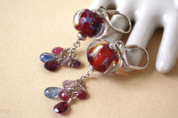 Red Lampwork Glass and Gemstone Long Silver Earrings -from Capital City Crafts