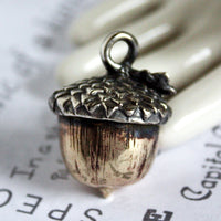 Sterling Silver and Yellow Brass Handmade Acorn Pendant -from Capital City Crafts