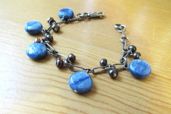 Blue Kyanite and Pearl Silver Charm Bracelet -from Capital City Crafts