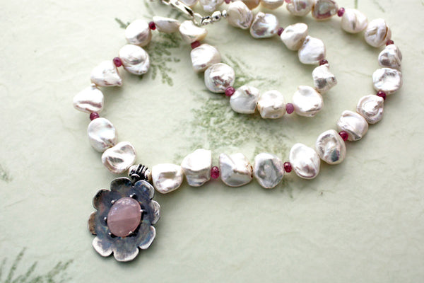 Rose Quartz Silver Flower Keishi Pearl Choker Necklace -from Capital City Crafts