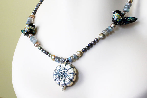 Lampwork Birds and Silver Flower Necklace