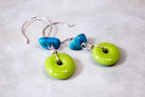 Lime and Turquoise Sterling Silver Earrings -from Capital City Crafts