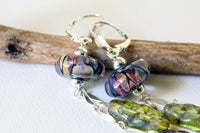 Boho Vintage Leaf Bead Drop Earrings -from Capital City Crafts