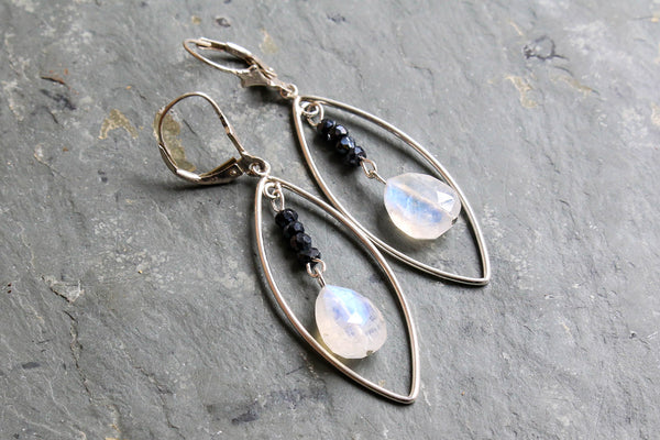 Long Rainbow Moonstone Sterling Silver Earrings -from Capital City Crafts