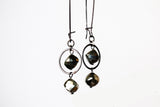 Pyrite Sterling Silver Circle Dangle Earrings -from Capital City Crafts