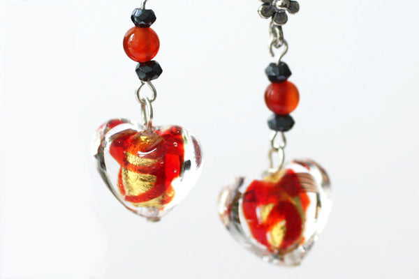 Red and Gold Murano Glass Heart Earrings