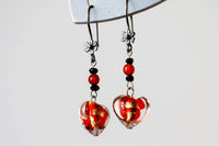 Red and Gold Murano Glass Heart Earrings -from Capital City Crafts