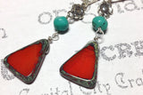 Red Triangle and Turquoise Boho Silver Earrings -from Capital City Crafts