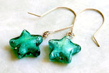 Teal Murano Glass Star Earrings -from Capital City Crafts