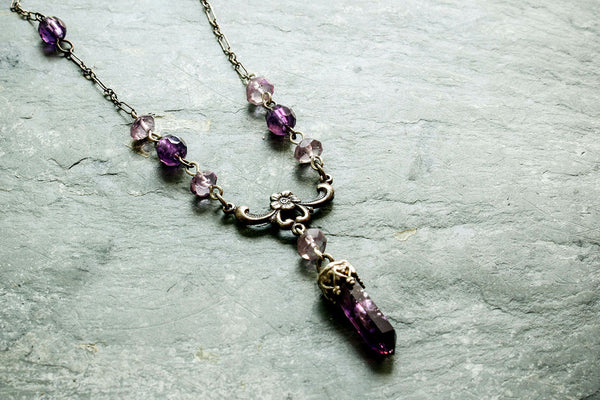 Vintage Style Silver Amethyst Necklace -from Capital City Crafts